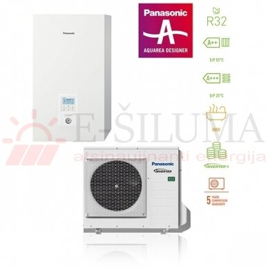 7 kW HP Bi-Bloc J kartos Panasonic AQUAREA šilumos siurblys KIT-WC07J3E5